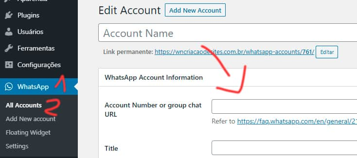 Adicionar conta Plug WhatsApp