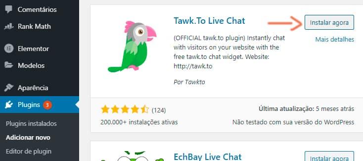Instalação Plug-in Tawk